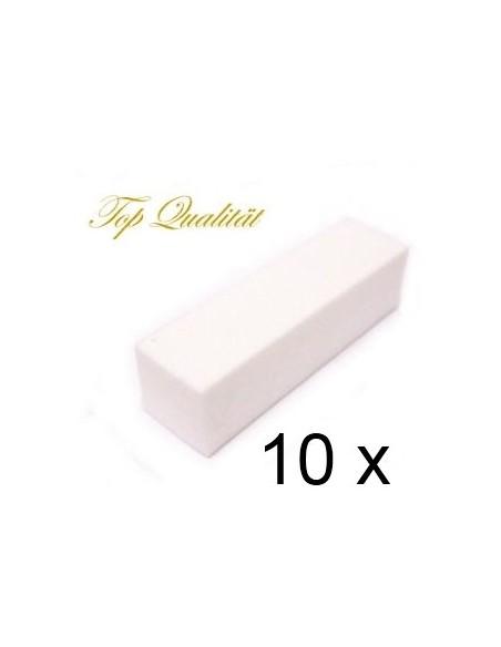 10 BLOCO BUFFERS 100 GRIT PARA UNHAS BRANCO