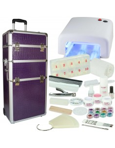 KIT UNHAS DE GEL BRANCO + TROLLEY LILAS Manicure e Pedicure