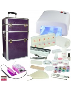 KIT UNHAS DE GEL BRANCO + TROLLEY LILAS +BROCA KITS UNHAS DE GEL COM MALA E BROCA
