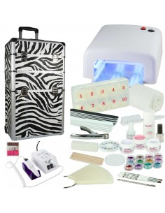 KIT UNHAS DE GEL BRANCO + TROLLEY ZEBRA + BROCA Manicure e Pedicure