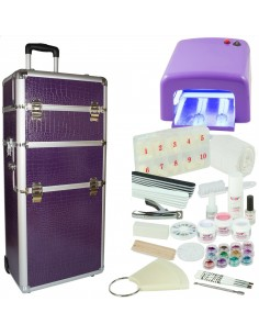 KIT UNHAS DE GEL LILAS + TROLLEY LILAS KITS UNHAS DE GEL COM MALA