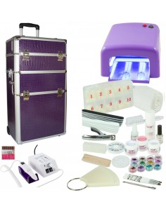 KIT UNHAS DE GEL LILAS + TROLLEY LILAS+ BROCA KITS UNHAS DE GEL COM MALA E BROCA